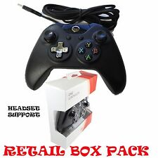 USB WIRED CONTROLLER GAMEPAD FOR MICROSOFT XBOX ONE S PC WINDOWS HEADSET SUPPORT