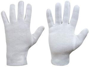 4x Guantes Blancos de Algodon 100% Ligero Multiusos Manipulacion Dermatitis 2824