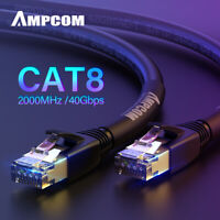 AMPCOM S/FTP CAT8 Ethernet Cable,High Speed Patch Cable 10Gbps, 25Gbps, 40Gbps