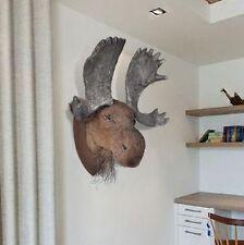 Faux Taxidermy Moose Fake Head Home Realistic Decor Wall Mounted Animal Room Art