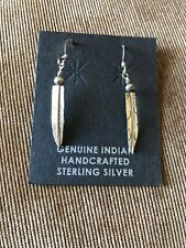 Vintage Sterling Silver Feather Wire Earrings Nice Details!