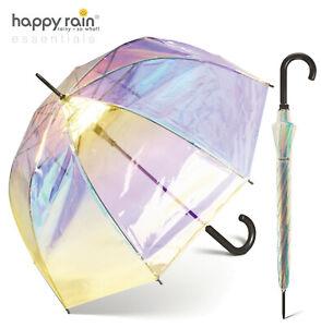 Regenschirm transparent durchsichtig Automatik Glockenschirm happy rain shiny