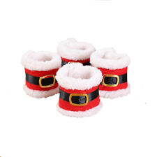 4Pcs Santa Clothes Napkin Ring Holder Christmas Dinner Ornament Table Desk Decor