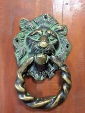 Lion Solid Bronze Door Handle Mixed Vintage Patina