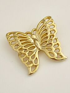 VINTAGE GOLD TONE OPEN SETTING DESIGN BUTTERFLY BROOCH