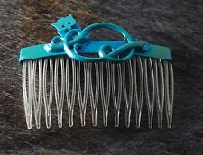 Vintage Hair Comb Perching Owl Blue Topper CLear Comb Hair Accessory