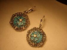 Stunning Estate 14K Filigree White Gold Turquoise Diamond Floral Earrings