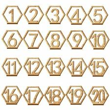 1-20 Numbers Wood Signs Wedding Hexagon Table Number Wooden Table Numbers Rustic