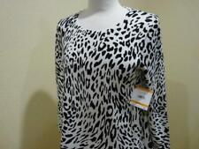 $89 Kasper Black White Leopard Scoop Sharkbite 3/4 Sleeve Pullover Sweater S Nwt