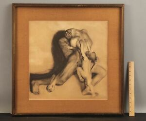 RARE Antique KATHE KOLLWITZ Expressionist Surreal Etching Nude Woman Skull Death