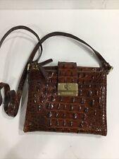 Brahmin Brown Leather Crossbody Purse Midsize Double Zipper Orgainizer, EUC!