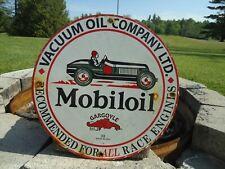 VINTAGE 1933 MOBILOIL GARGOYLE PORCELAIN ENAMEL GAS PUMP STATION SIGN MOBILGAS