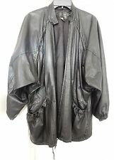 JACQUES DONELLI FRANCE Leather Coat Jacket Ruched Pockets URUGUAY Black S VTG