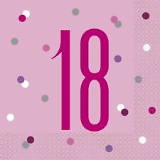 16 x Pink 18 Napkins Ladies 18th Birthday Party Tableware Supplies Glitz Adults