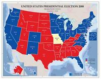 Map Political USA 2008 Presidential Election Large Replica Canvas Art Print