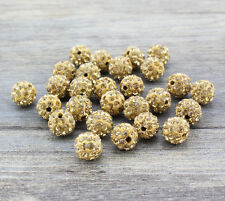 Shamballa Beads 100 Pcs Crystal Pave Disco Balls Fit Braclet 10MM Khaki Topaz