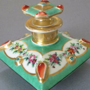 Antique FRENCH HP Porcelain PERFUME Apothecary Decanter FLOWERS Enamel JEWELS
