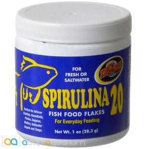 Zoo Med Spirulina 20 Fish Food Flakes 1 oz Jar Natural Color Enhancing Fish Food