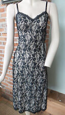 Vtg Black Lace Slip lined / could be worn as a Dress by Van Raalte Size 32