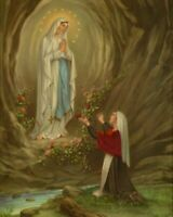 """Catholic  print picture OUR LADY OF LOURDES  8"""" x10"""" ready to be framed"""