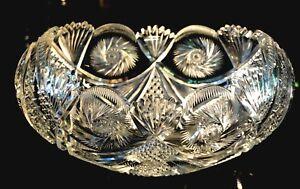 Stunning Early American Brilliant Period Deep Cut Crystal Bowl