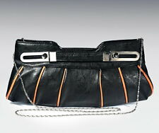 Black Clutch Bag with Tan Piping Detail