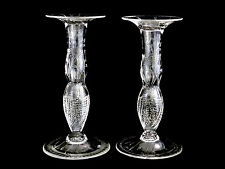 """American Brilliant ABP 10"""" Cut Glass Floral Etched Candle Holders Candlesticks"""
