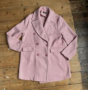 Shein Womens Coat Medium Size 12-14 Pink Patterned Part Wool