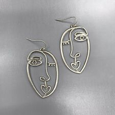 Unique Matte Silver Finished Picasso Face Design Drop Dangle Hook Earrings
