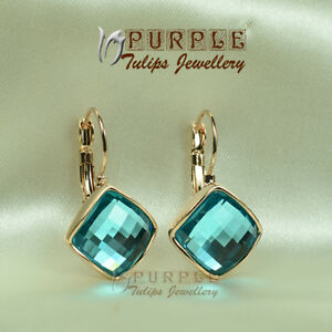 18CT Rose Gold Plated Aquamarine Hoop Earrings Made With Swarovski Crystal
