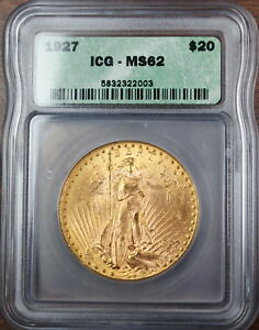 1927 Gold $20 St. Guadens Double Eagle Coin, ICG MS-62