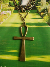 Bronze Large (56x29mm) ANKH Cross Charm pendant Necklace Egyptian Symbol of Life