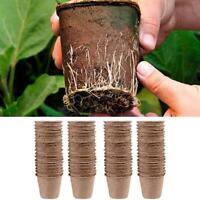 50&100Pcs Garden Plants Nursery Paper Pots Biodegradable Seedling Raising Cups