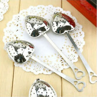2PC Heart Shape Tea Infuser Spoon Strainer Steeper Handle Shower Stainless Steel