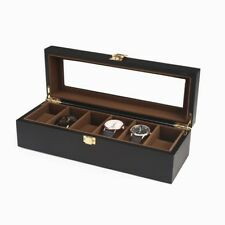 Leather Watch Jewelry Display Case Storage Glass Top 6 Watches Box Black