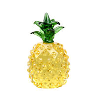 Yellow Crystal Pineapple Paperweight Figurine Glass Ornament Home Decor Gift