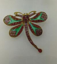 Bronze Pistachio Green Enamel Butterfly Brooch