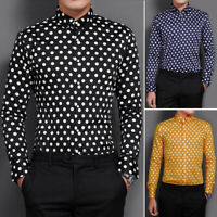 Men's Fashion Printed Long Sleeve Casual Shirt Tops Vacation Party Blouse Tee