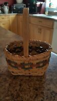 "5.75""x 4.75"" x 3.25"" ♡ MINI COUNTRY DECOR BASKET ♡ CRANBERRY, GREEN & NATURAL"