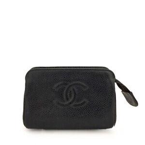 CHANEL CC Logo Black Caviar Skin Mini Cosmetics Pouch /B0089
