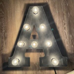 """Marquee Letter A Industrial Vintage Style Light Up Wooden Brown Large LED 15.25"""""""