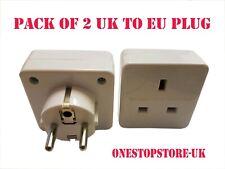 2 X UK TO EU EURO EUROPE EUROPEAN TRAVEL ADAPTOR PLUG 3 TO 2 PIN ADAPTER NEW