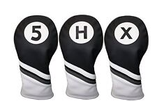 Golf Headcover Black and White Leather Style 5, X, H Fairway Hybrid Head Covers