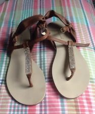 Brown Leather Diamonte Sandals 5