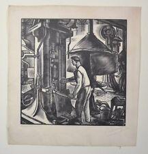 Bois Gravé Originale de Robert Cami - La Forge -  Bordeaux - Circa 1930