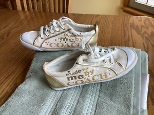 COACH ROYAL WHITE & GOLD BARRETT SNEAKERS TENNIS SHOES SIZE US 9.0