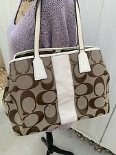 Coach Signature Stripe Kiss Lock Framed Carryall Khaki Hand Bag