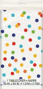 Birthday Unicorn Party Plastic Supplies Table Cover Rainbow Polka Dot Tablecloth