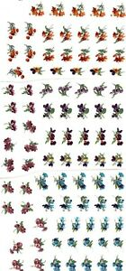 "54 Meissen Flower Bits  5/8"" Waterslide Ceramic Decals Bx"