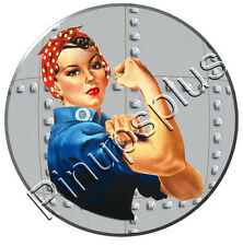 Vintage WWII USA Rosie the Riveter Pinup Girl Waterslide Decal Sticker S453